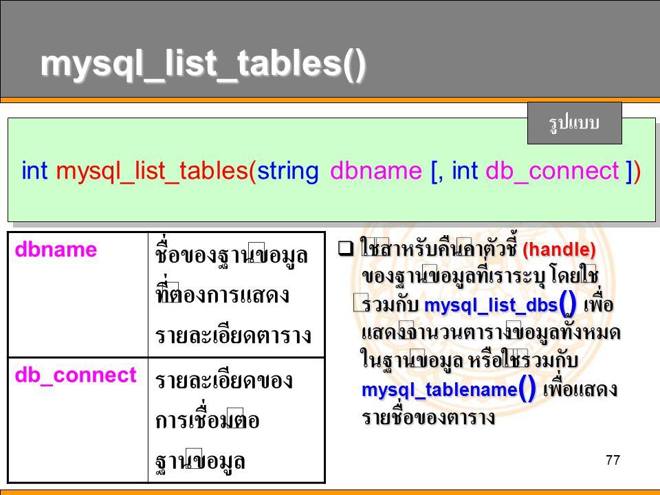 int mysql_list_tables(string dbname [, int db_connect ])